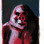 Red Gorilla For Lulu. 2012. Acrylique sur papier. 21 x 13 cm.